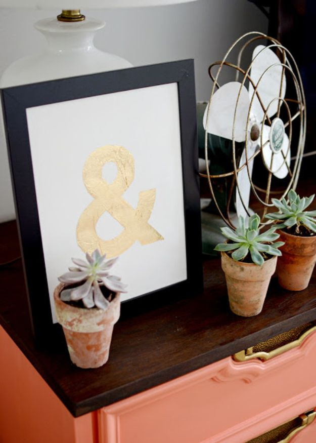 DIY Wall Art Ideas for Teens - DIY Gold Leaf Monogram Art - Teen Boy and Girl Bedroom Wall Decor Ideas - Cheap Canvas Paintings and Wall Hangings For Room Decoration