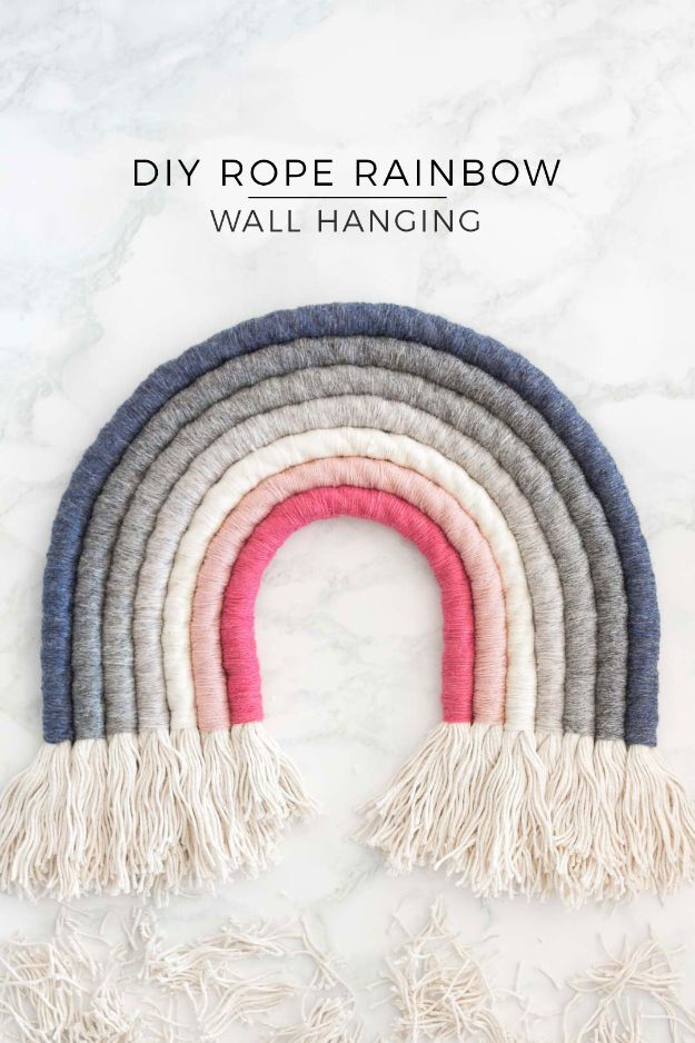 DIY Wall Art Ideas for Teens - DIY Rope Rainbow Wall Hanging - Teen Boy and Girl Bedroom Wall Decor Ideas - Cheap Canvas Paintings and Wall Hangings For Room Decoration