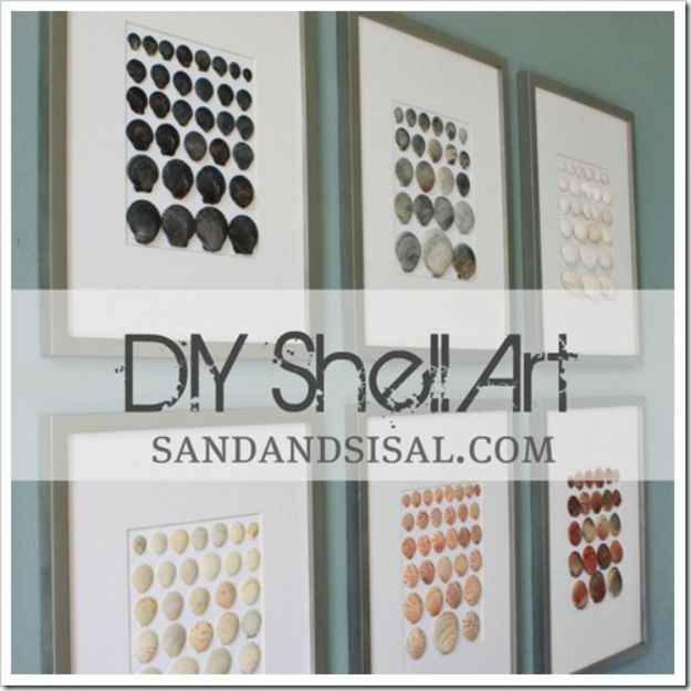 DIY Wall Art Ideas for Teens - DIY Shell Art - Teen Boy and Girl Bedroom Wall Decor Ideas - Cheap Canvas Paintings and Wall Hangings For Room Decoration