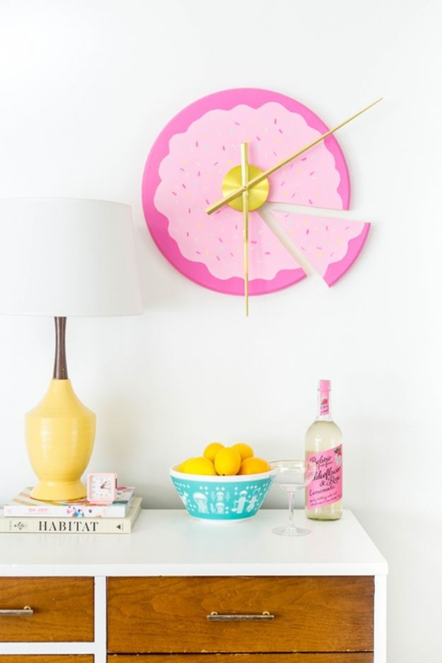 DIY Wall Art Ideas for Teens - DIY Sliced Cake Wall Clock - Teen Boy and Girl Bedroom Wall Decor Ideas - Cheap Canvas Paintings and Wall Hangings For Room Decoration