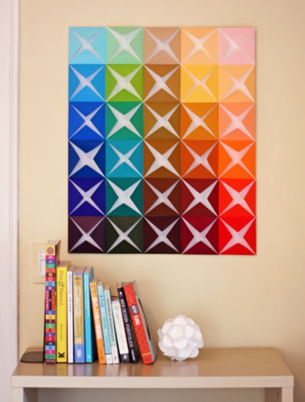 DIY Wall Art Ideas for Teens - DIY Wall Art From Folded Paper - Teen Boy and Girl Bedroom Wall Decor Ideas - Cheap Canvas Paintings and Wall Hangings For Room Decoration