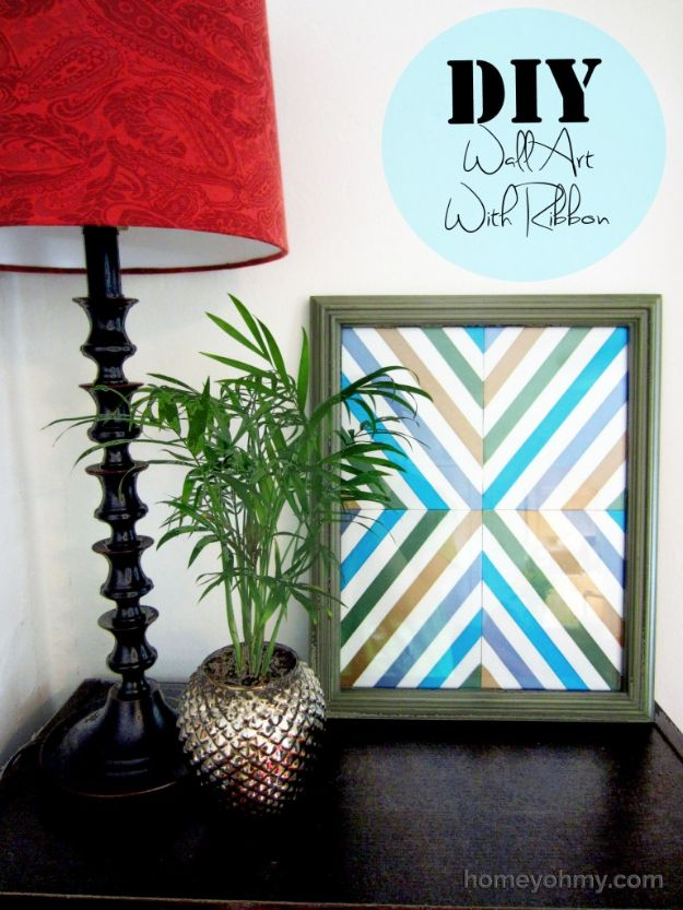 DIY Wall Art Ideas for Teens - DIY Wall Art With Ribbon - Teen Boy and Girl Bedroom Wall Decor Ideas - Cheap Canvas Paintings and Wall Hangings For Room Decoration