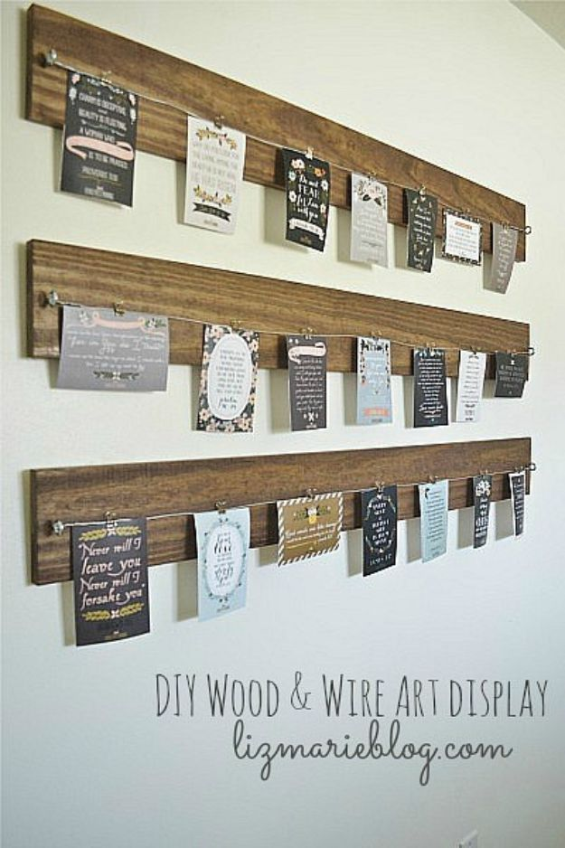 DIY Wall Art Ideas for Teens - DIY Wood and Wire Art Display - Teen Boy and Girl Bedroom Wall Decor Ideas - Goedkope canvasschilderijen en wandkleden voor kamerdecoratie