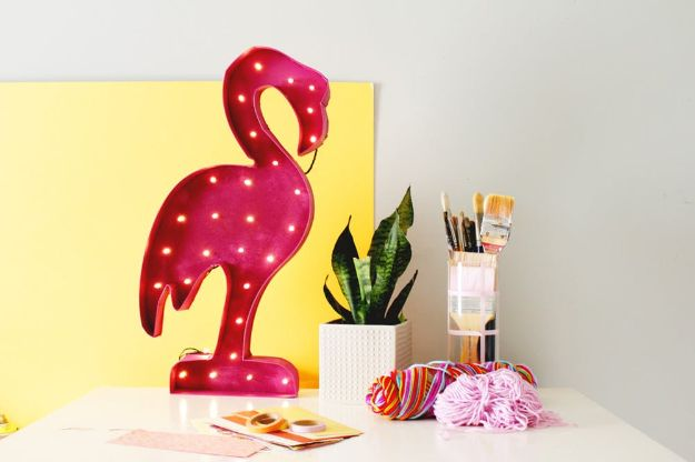 DIY Wall Art Ideas for Teens - Flamingo Marquee Light - Teen Boy and Girl Bedroom Wall Decor Ideas - Cheap Canvas Paintings and Wall Hangings For Room Decoration