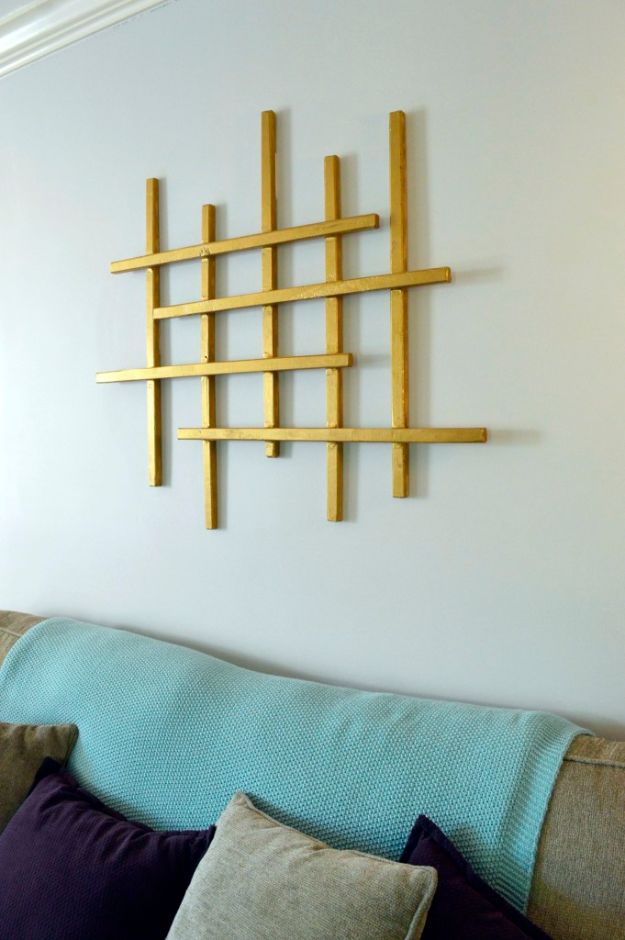 DIY Wall Art Ideas for Teens - Gold Wall Art - Teen Boy and Girl Bedroom Wall Decor Ideas - Cheap Canvas Paintings and Wall Hangings For Room Decoration