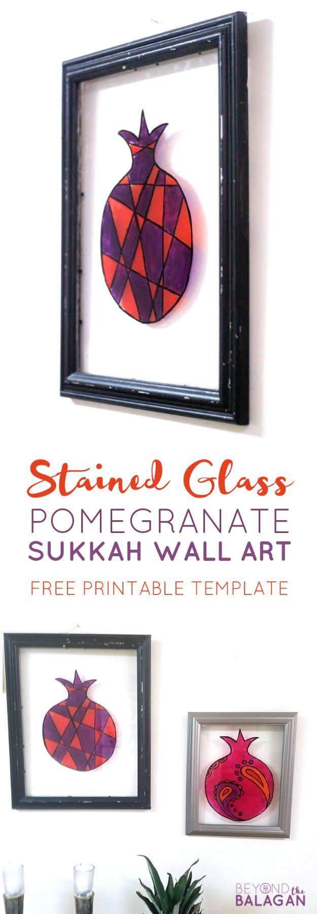DIY Wall Art Ideas for Teens - Stained Glass Pomegranate Sukkah Wall Art - Teen Boy and Girl Bedroom Wall Decor Ideas - Cheap Canvas Paintings and Wall Hangings For Room Decoration