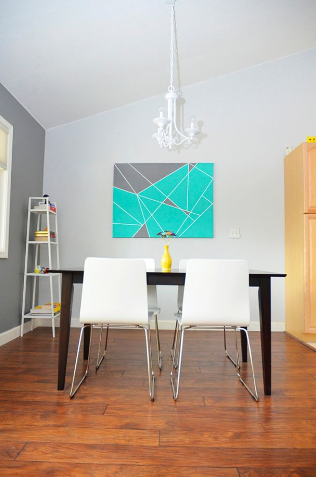 DIY Wall Art Ideas for Teens - Tape Masking on Canvas - Teen Boy and Girl Bedroom Wall Decor Ideas - Cheap Canvas Paintings and Wall Hangings For Room Decoration