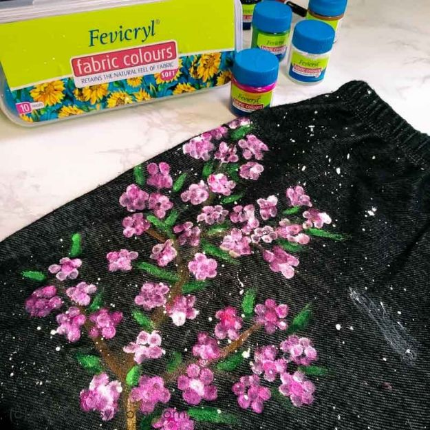 Easy Crafts for Teen Girls | DIY Cherry Blossom Art on Jeans l Fun Craft and DIY Ideas for Teenagers and Tween Girl | Room Decor and Gifts