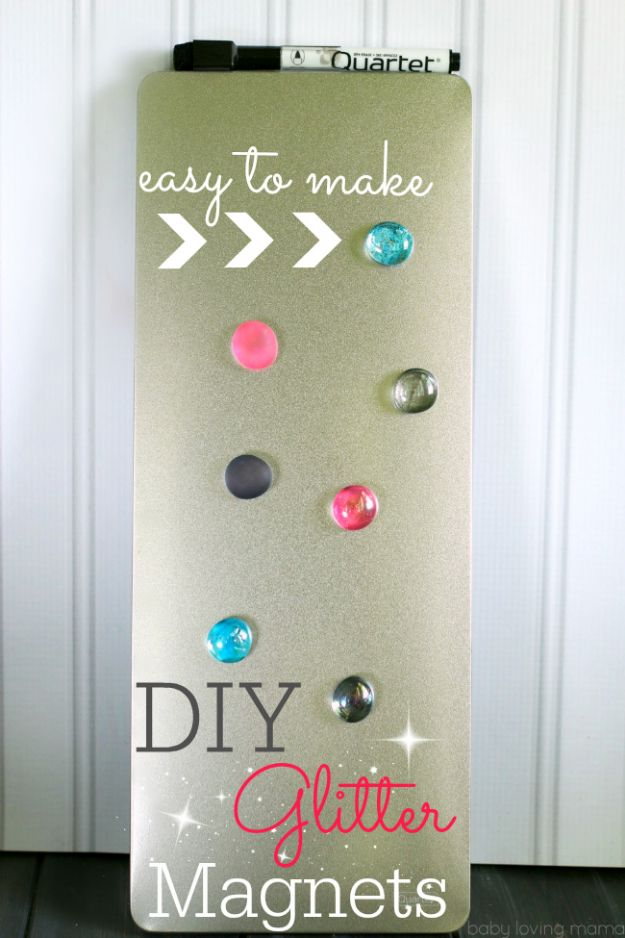 Easy Crafts for Teen Girls | DIY Glitter Magnets l Fun Craft and DIY Ideas for Teenagers and Tween Girl | Room Decor and Gifts