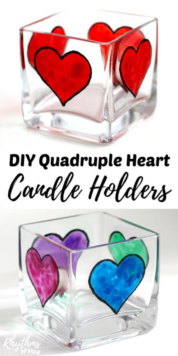 Easy Crafts for Teen Girls | DIY Quadruple Heart Square Votive Candle Holders l Fun Craft and DIY Ideas for Teenagers and Tween Girl | Room Decor and Gifts
