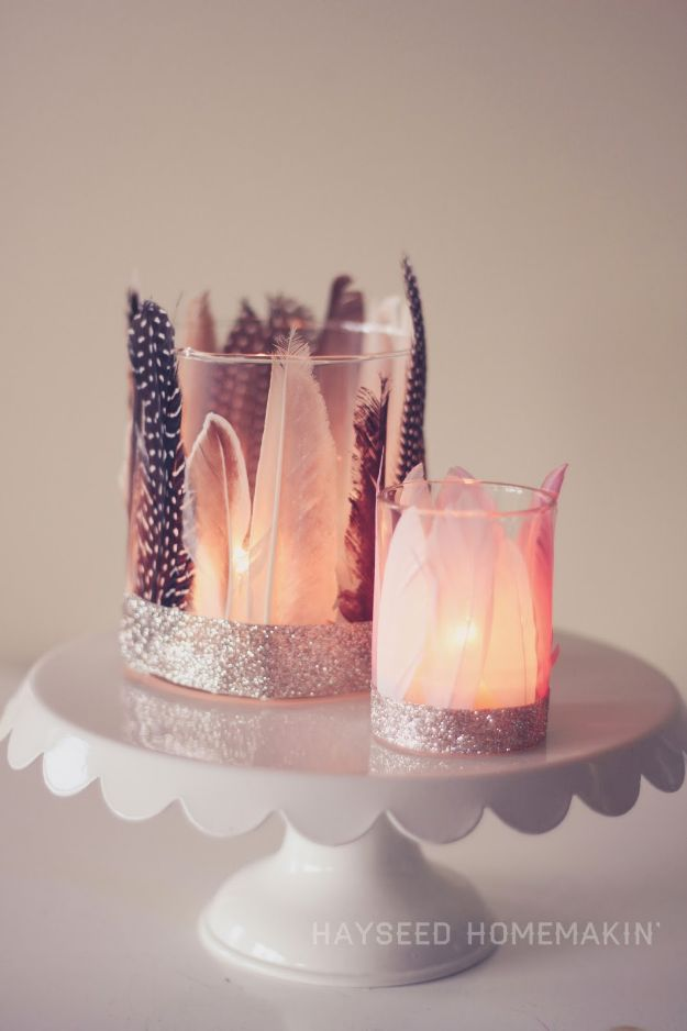 Easy Crafts for Teen Girls | Feathered Votive Holders l Fun Craft and DIY Ideas for Teenagers and Tween Girl | Room Decor and Gifts