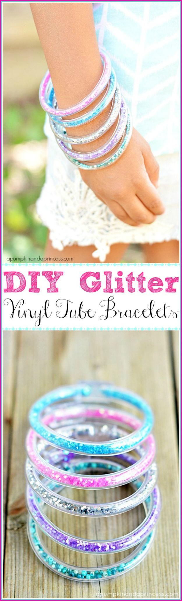 Easy Crafts for Teen Girls | Glitter Vinyl Tube Bracelets l Fun Craft and DIY Ideas for Teenagers and Tween Girl | Room Decor and Gifts